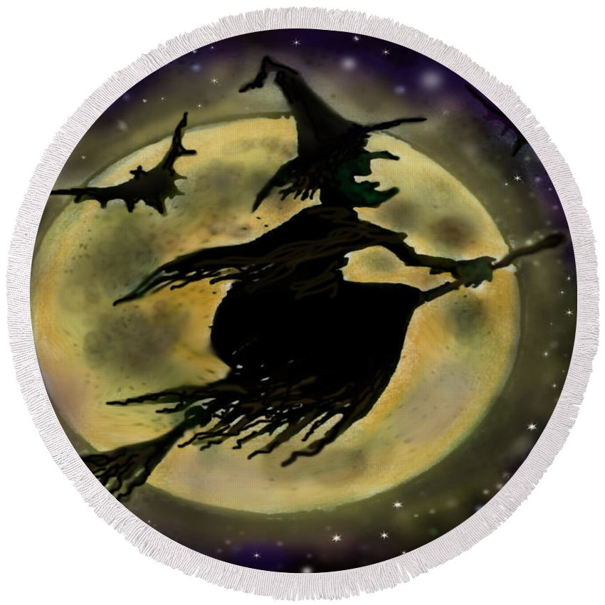 Halloween Round Beach Towel featuring the digital art Halloween Witch by Kevin Middleton
