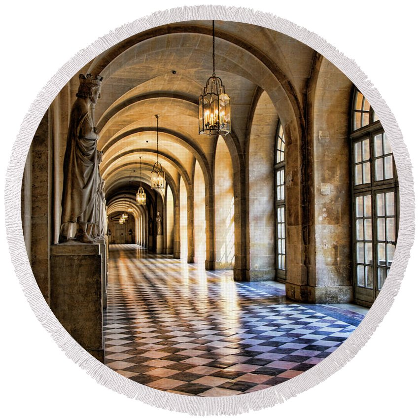 France Round Beach Towel featuring the photograph Hallway Versailles by Chuck Kuhn