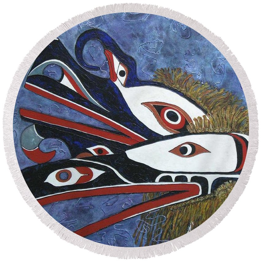 North West Native Round Beach Towel featuring the painting Hamatsa Masks by Elaine Booth-Kallweit