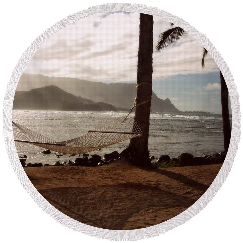 Wright Round Beach Towel featuring the photograph Hammock Shadow by Paulette B Wright