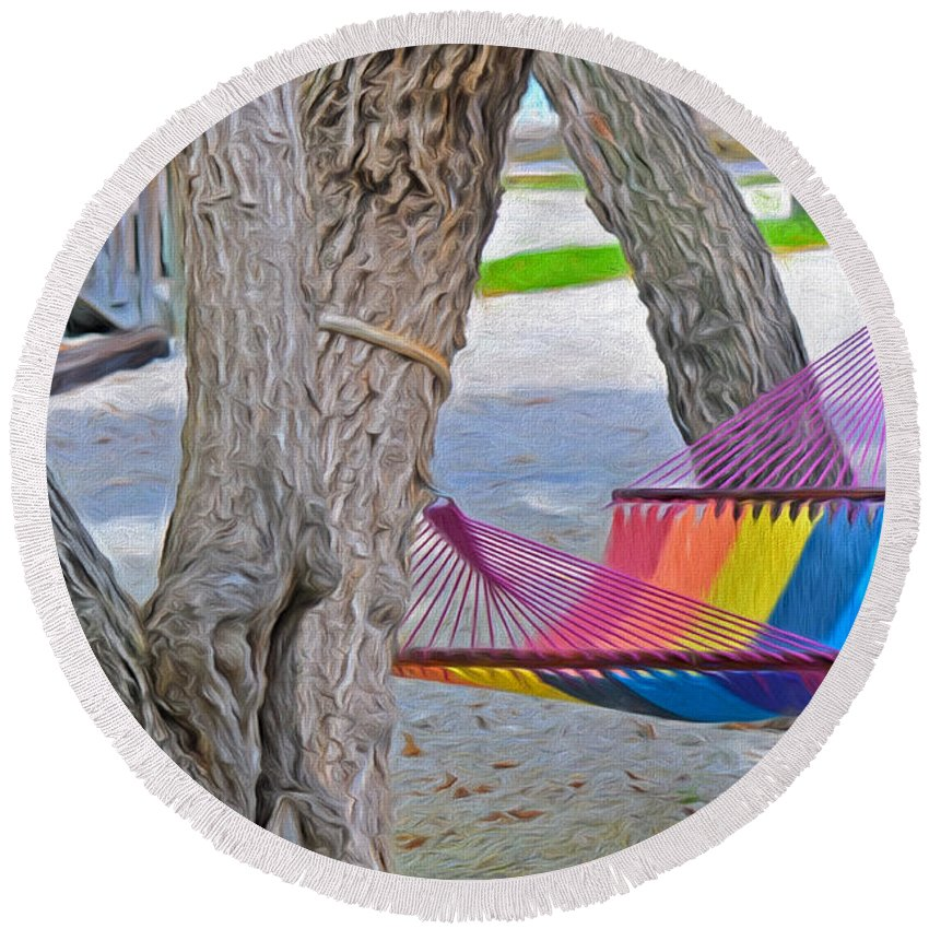 Parmer's Round Beach Towel featuring the photograph Hammock Time In The Florida Keys by Ginger Wakem