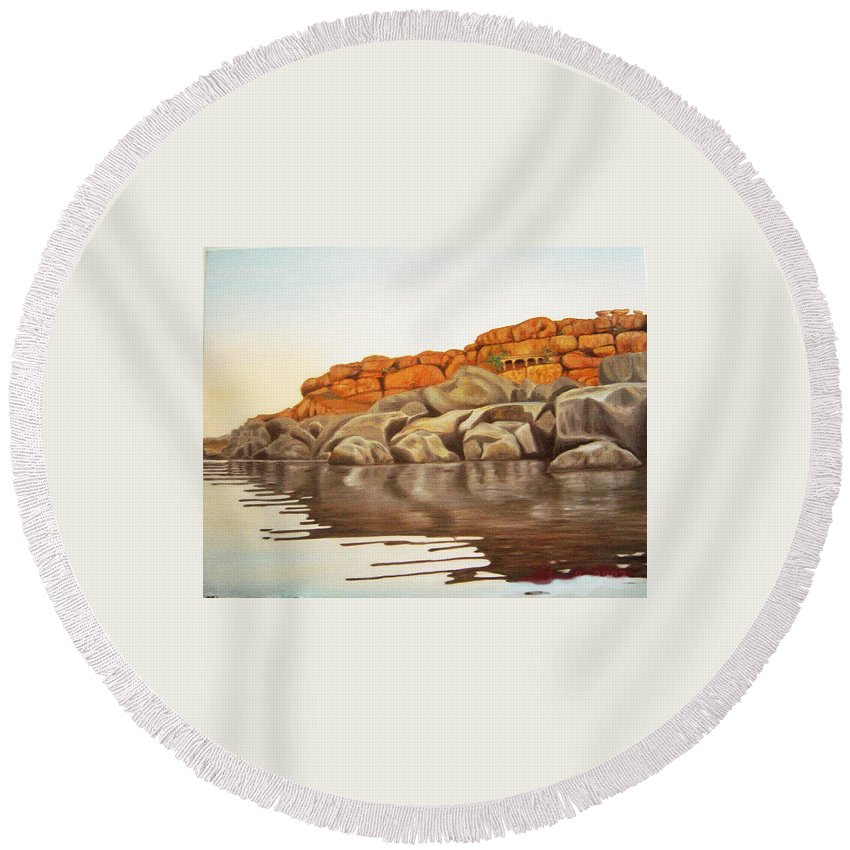 Hampi Round Beach Towel featuring the painting Hampi On Tungabadra by Usha Shantharam