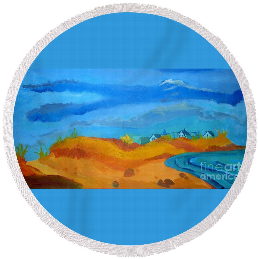 Ocean Round Beach Towel featuring the painting Hampton Dunes by Debra Bretton Robinson