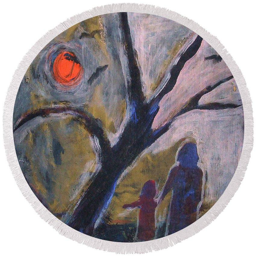 Katt Yanda Round Beach Towel featuring the painting Hand In Hand Walk Under The Moon by Katt Yanda