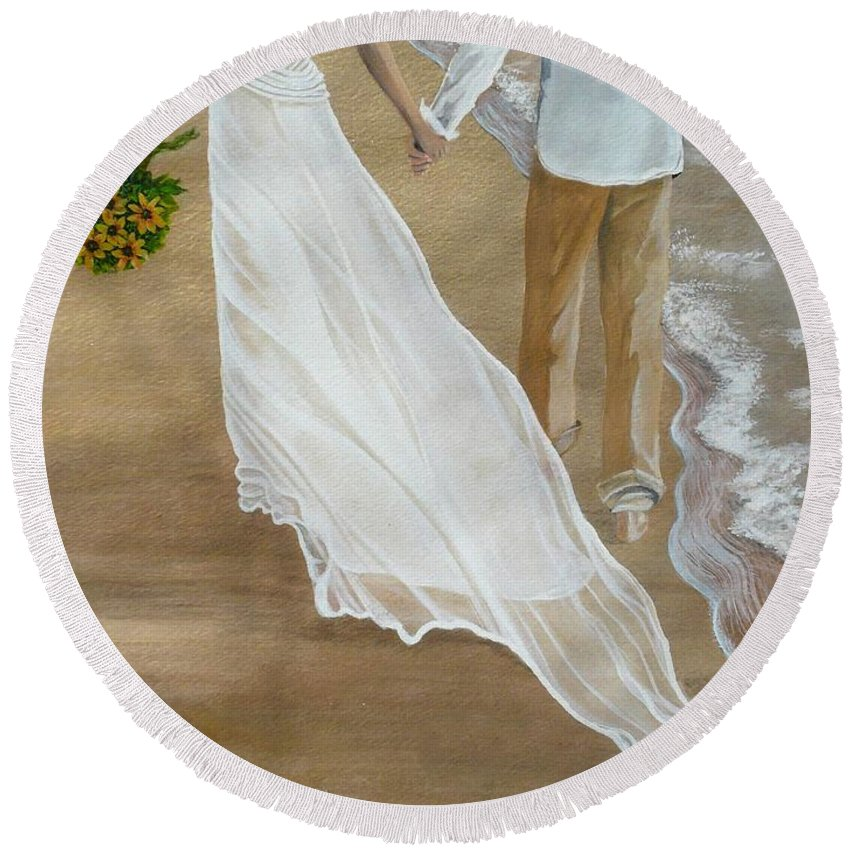 Bride And Groom Round Beach Towel featuring the painting Hand In Hand by Kris Crollard
