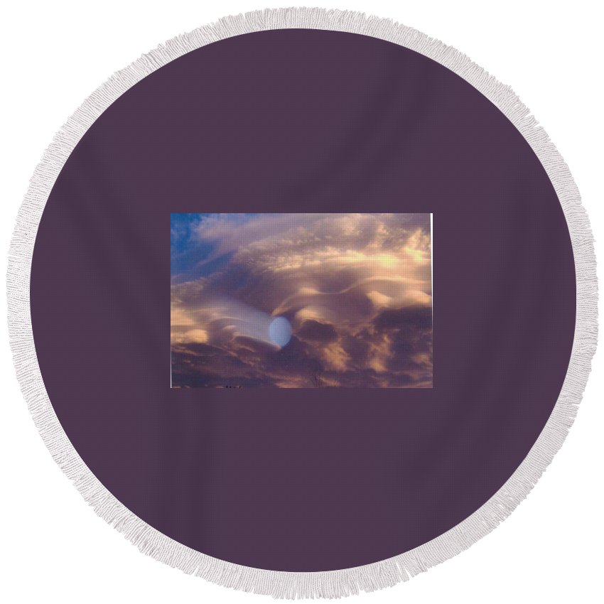 Sky Round Beach Towel featuring the photograph Hand Of God In Colorado Sky by Daniel Lindvig