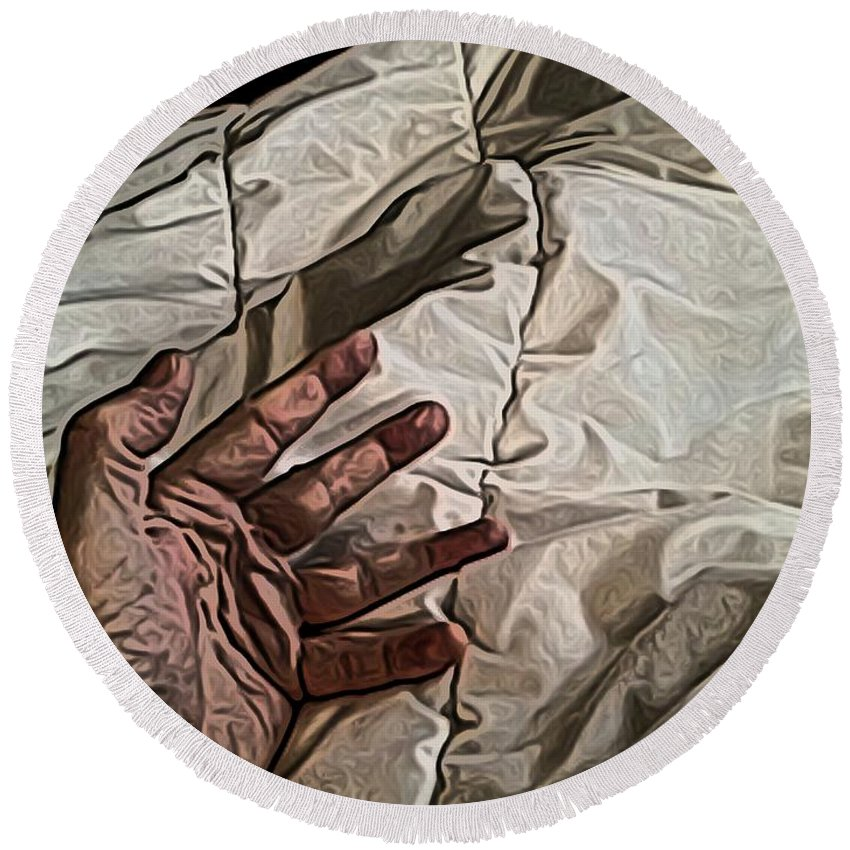 Hand Round Beach Towel featuring the digital art Hand On Comforter by Ron Bissett