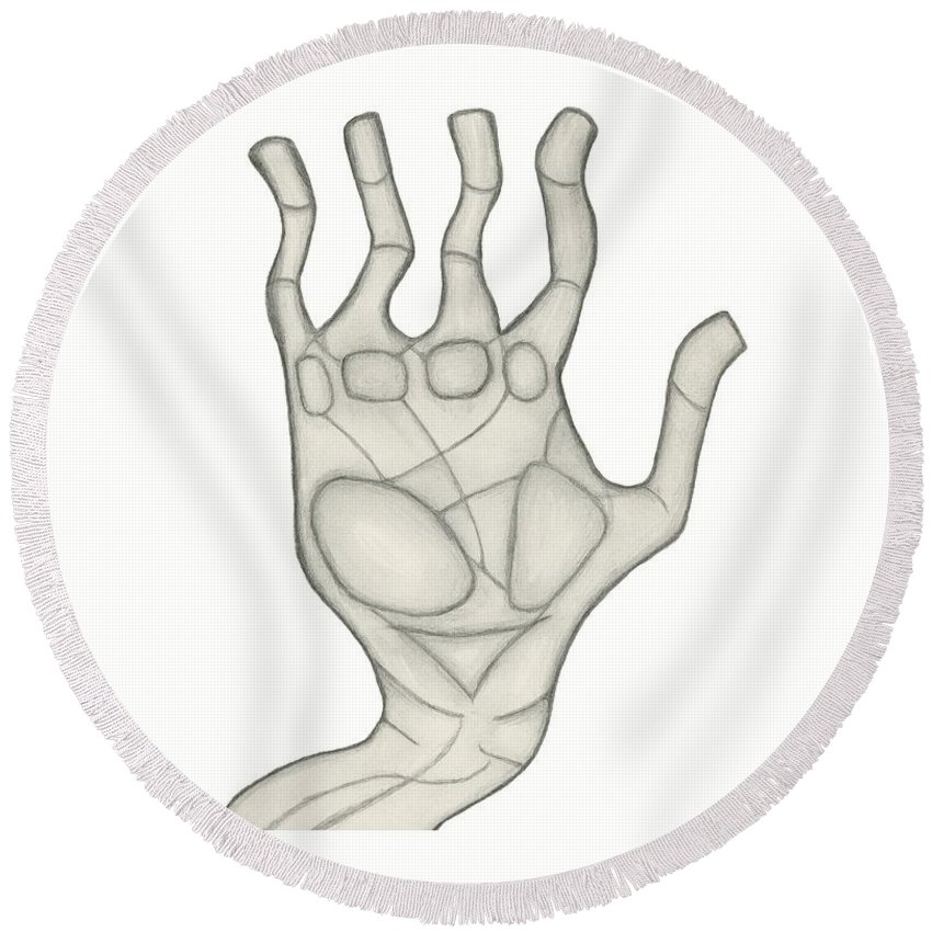 High Five Round Beach Towel featuring the drawing Hand by Sara Stevenson