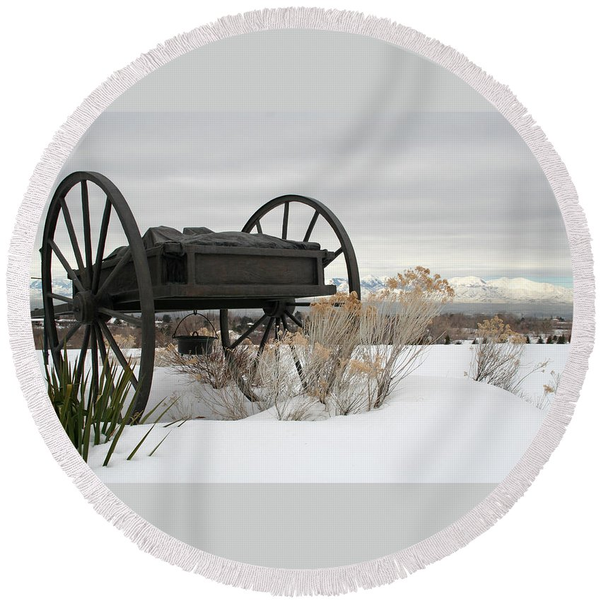 Handcart Round Beach Towel featuring the photograph Handcart Monument by Margie Wildblood