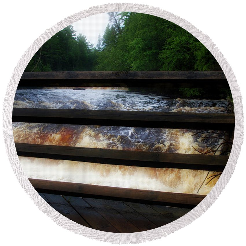 Handrails Round Beach Towel featuring the photograph Handrails Tahquamenon Lower Falls Upper Peninsula Michigan 02 by Thomas Woolworth