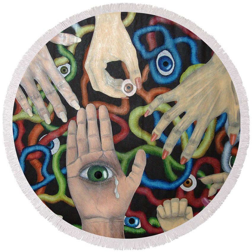 Collage Round Beach Towel featuring the drawing Hands And Eyes by Nancy Mueller