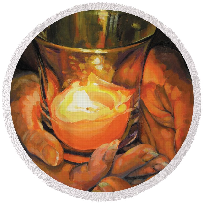 Hands Round Beach Towel featuring the painting Hands By Candlelight by Rebecca Zook