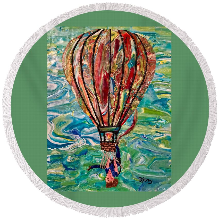 Portrait Round Beach Towel featuring the mixed media Hang In Theair by Deborah Stanley