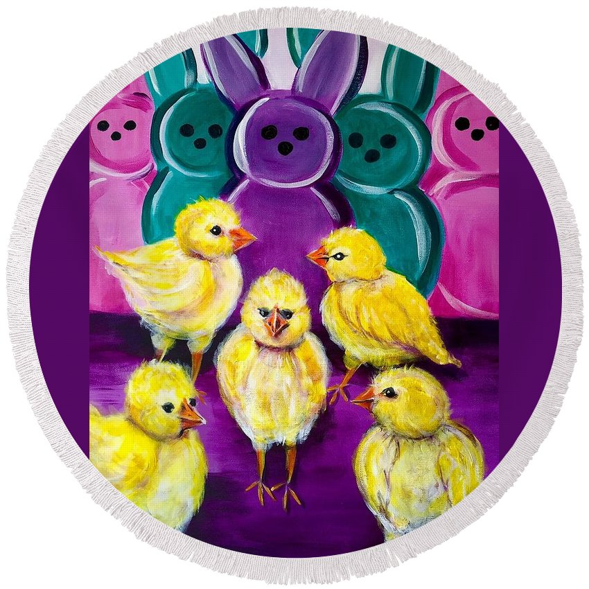Spring Round Beach Towel featuring the painting Hangin' With My Peeps by C Stephenson-Gibbs
