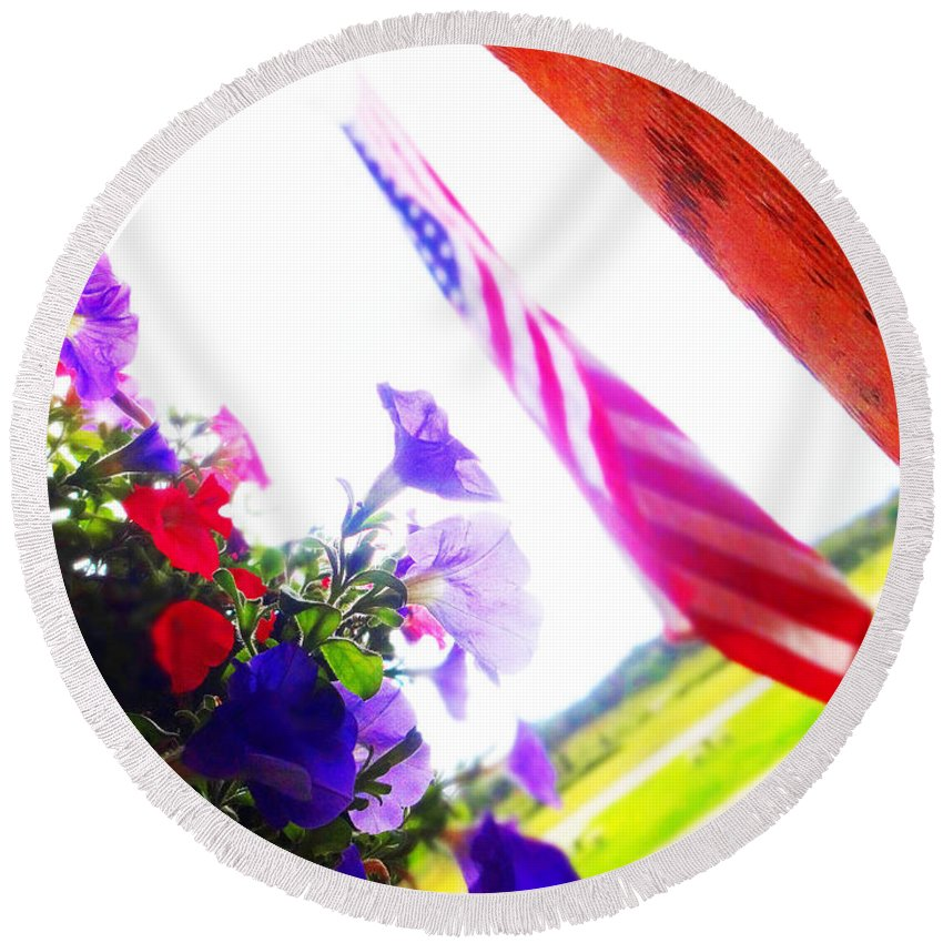 Flag Round Beach Towel featuring the photograph Hanging Beauty 2 by Korynn Neil