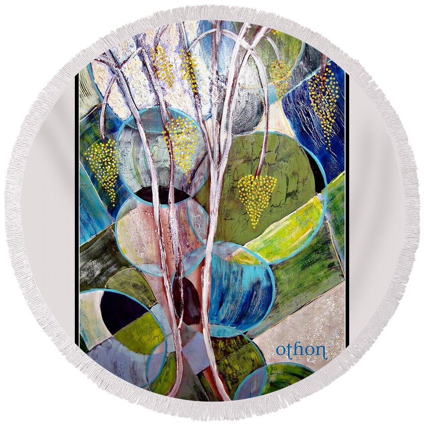 Abstract Round Beach Towel featuring the painting Hanging Fruit by Kathy Othon