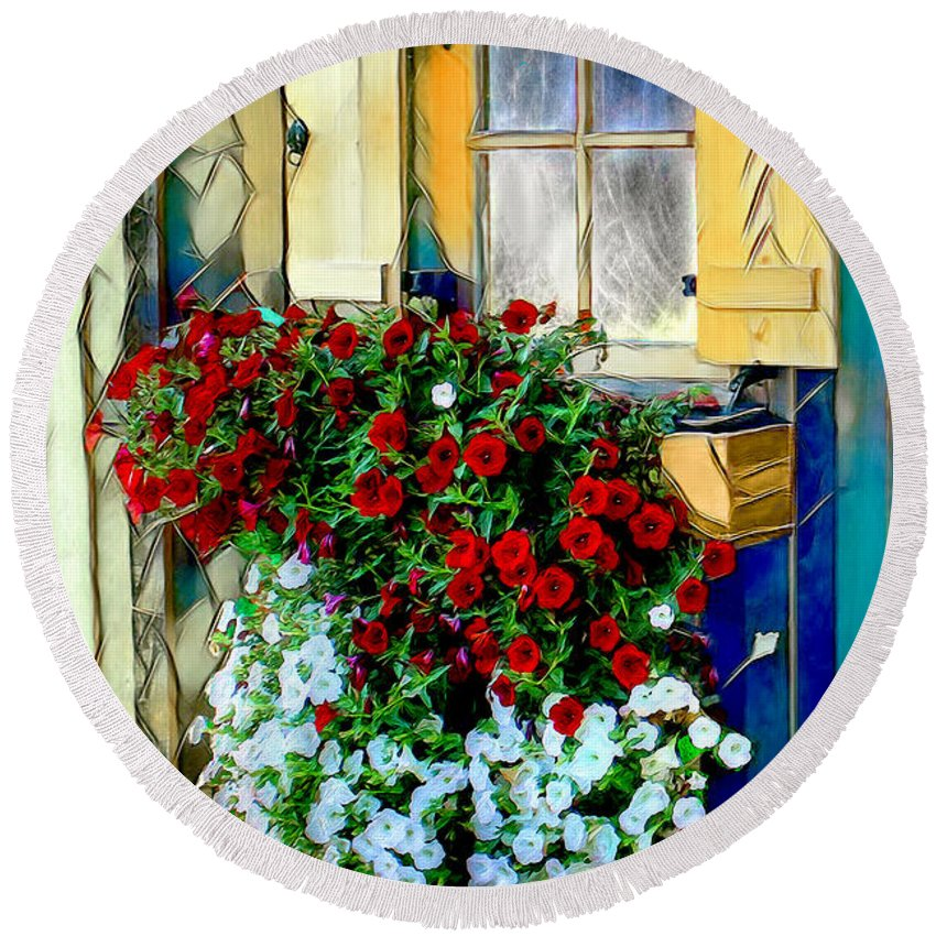 Flowers Round Beach Towel featuring the digital art Hanging Gardens by Pennie McCracken