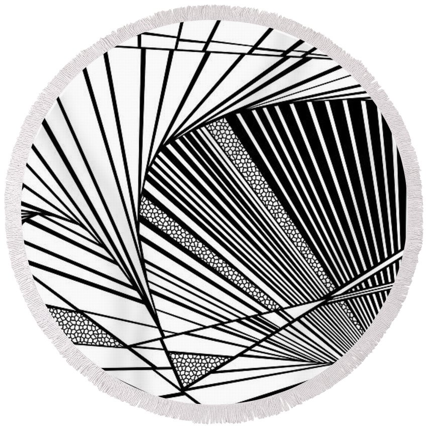 Dynamic Black And White Round Beach Towel featuring the painting Hanging In There by Douglas Christian Larsen