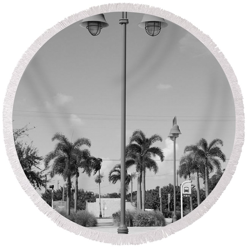 Black And White Round Beach Towel featuring the photograph Hanging Lamps by Rob Hans