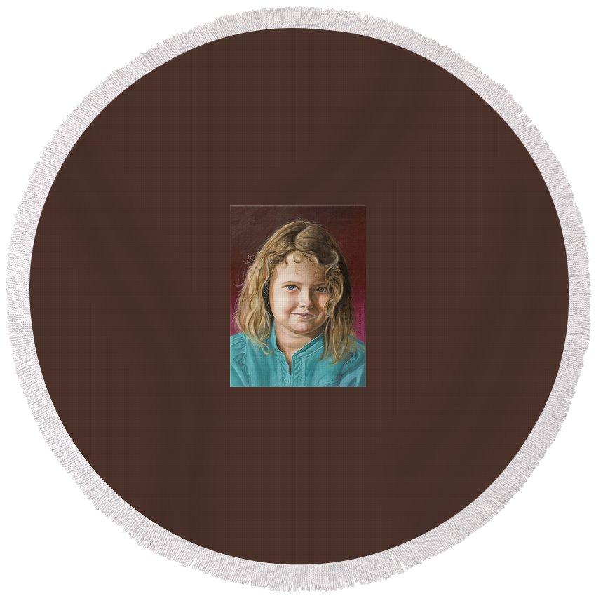 Portrait Round Beach Towel featuring the painting Hanna by Rob De Vries