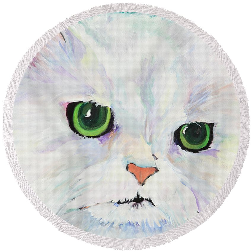Acrylic Round Beach Towel featuring the painting Hannah by Pat Saunders-White