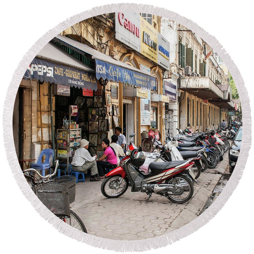 Vietnam Round Beach Towel featuring the photograph Hanoi Cafe Yen by Rick Piper Photography