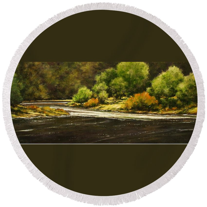 Painting Round Beach Towel featuring the painting Lewis River Lagoon by Jim Gola
