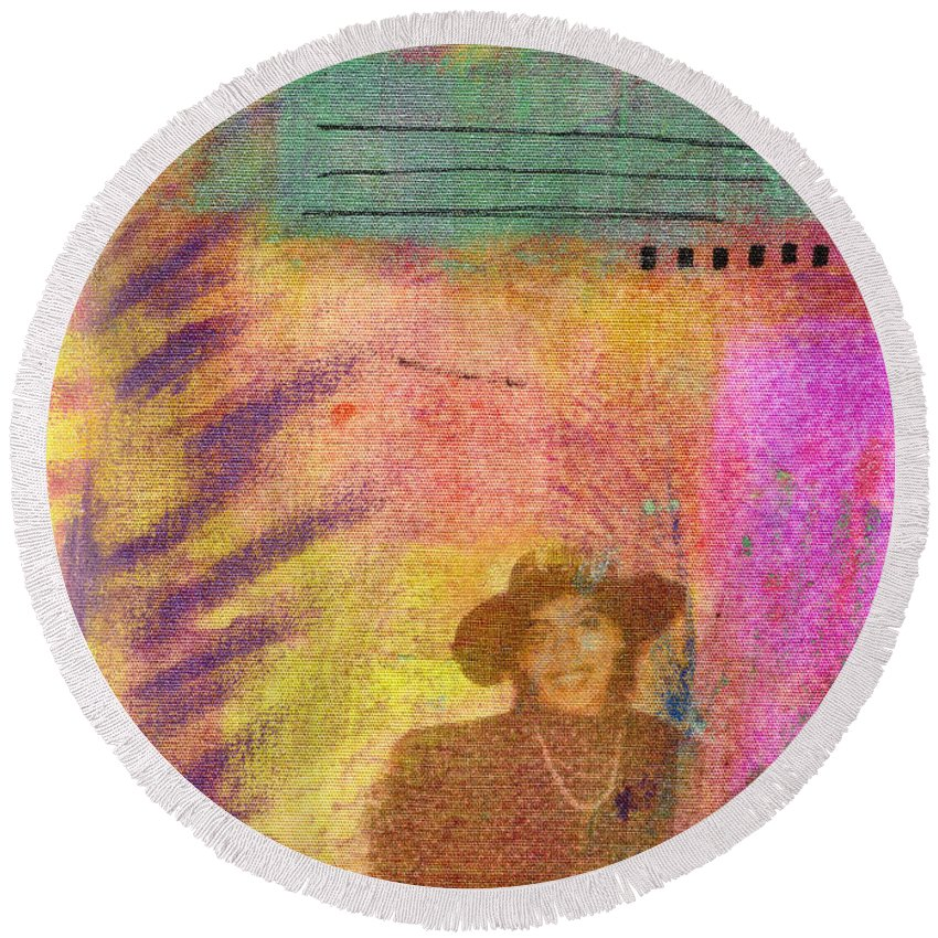 Woman Round Beach Towel featuring the mixed media Happily Waiting by Angela L Walker