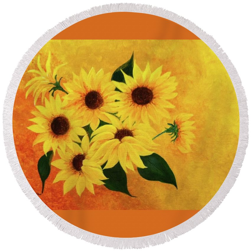 Yellow Round Beach Towel featuring the painting Happiness by Alice Blue