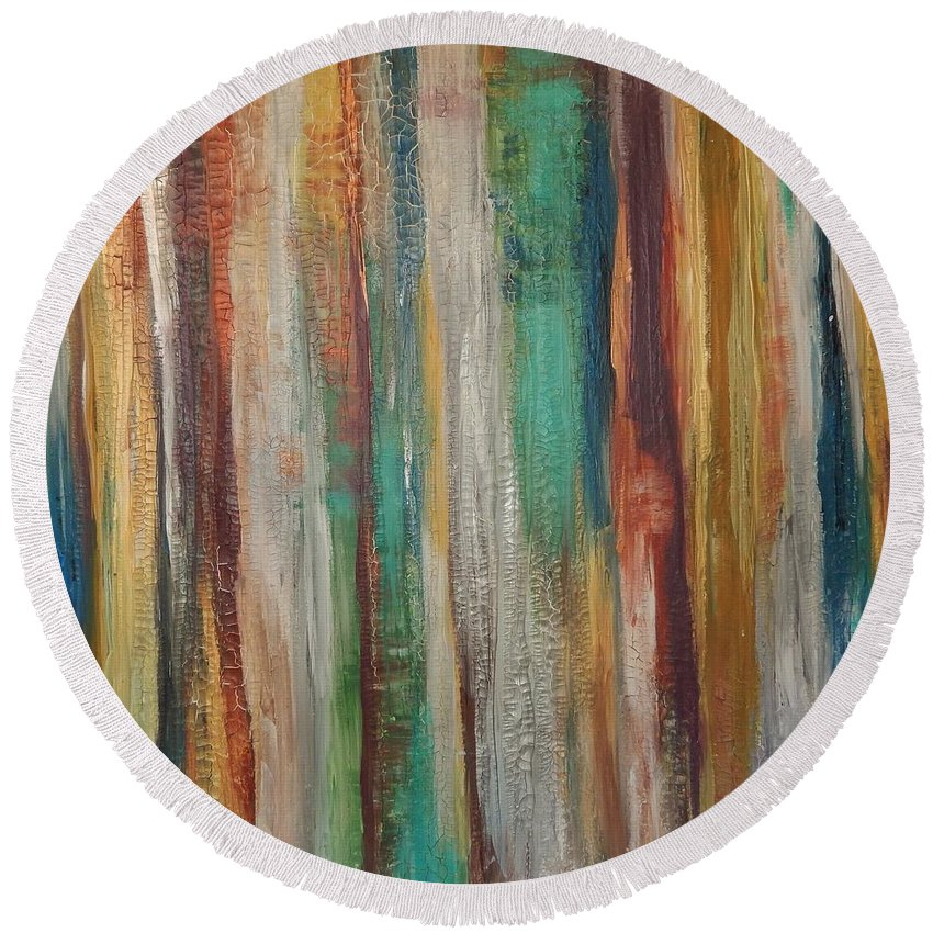 Abstract Round Beach Towel featuring the painting Happiness by Graciela Castro