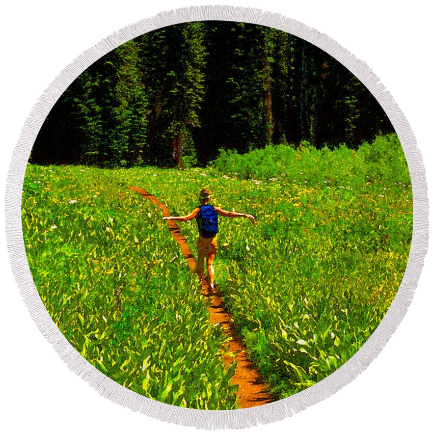 Hiking Round Beach Towel featuring the painting Happiness Is A Trail by David Lee Thompson
