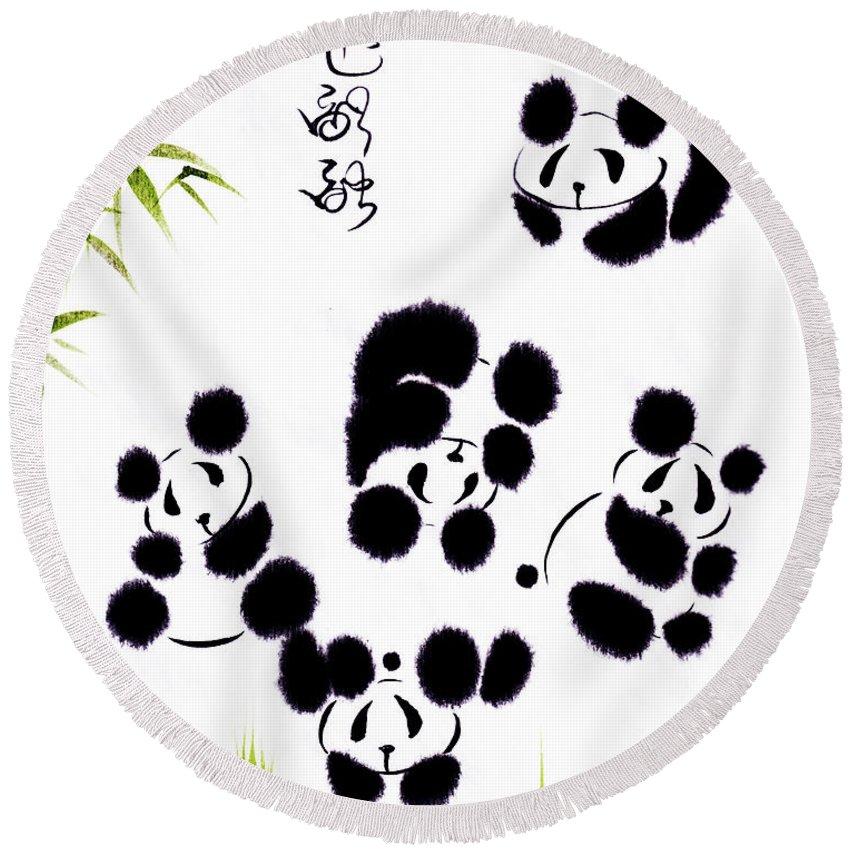 Panda Round Beach Towel featuring the painting Happiness Is Getting Along by Oiyee At Oystudio