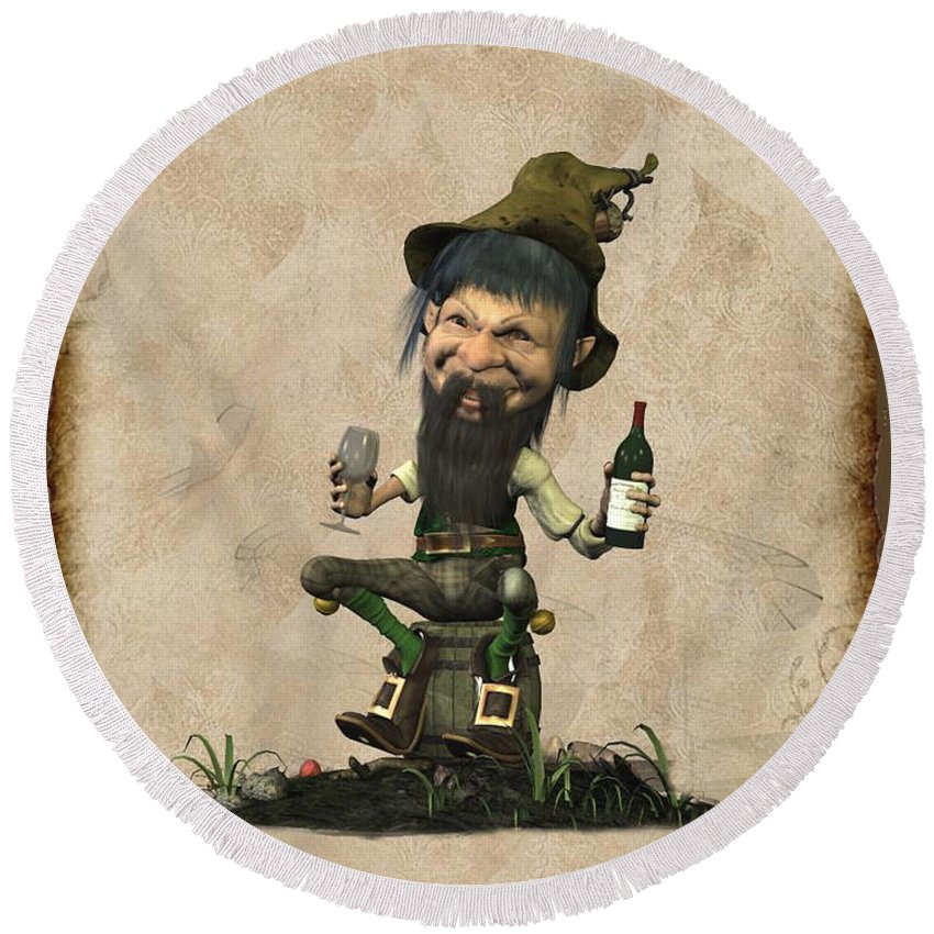Leprechaun Painting By John Junek - Leprechaun Fine Art Prints And Posters For Sale Round Beach Towel featuring the digital art Happly Time For A Leprechaun by John Junek