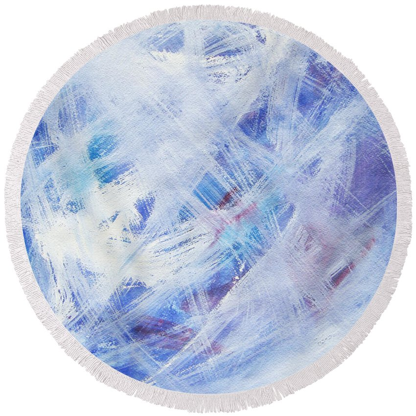 Abstract Round Beach Towel featuring the painting Happy Abstract by Lee Serenethos