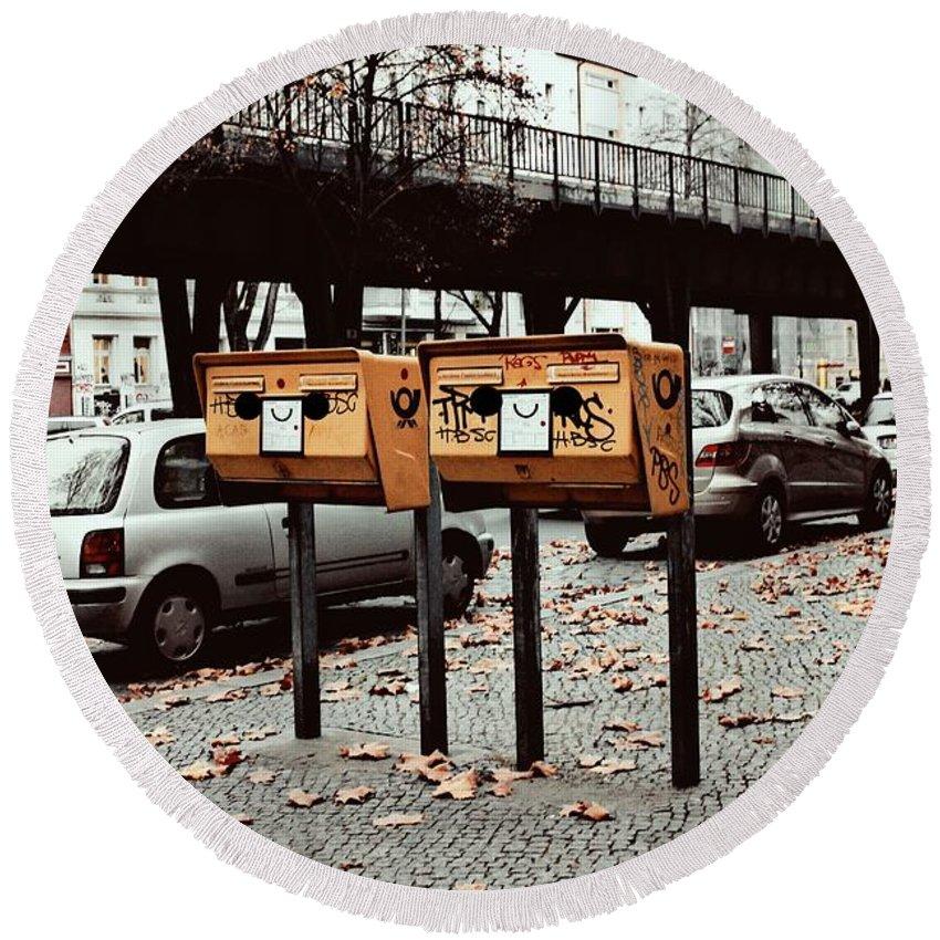 Mailbox Round Beach Towel featuring the photograph Happy Berlin Mailbox by Helena Bendala