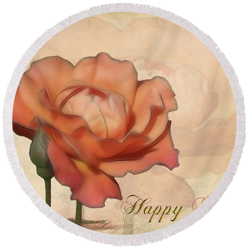 Flower Round Beach Towel featuring the photograph Happy Birthday Peach Rose Card by Teresa Zieba