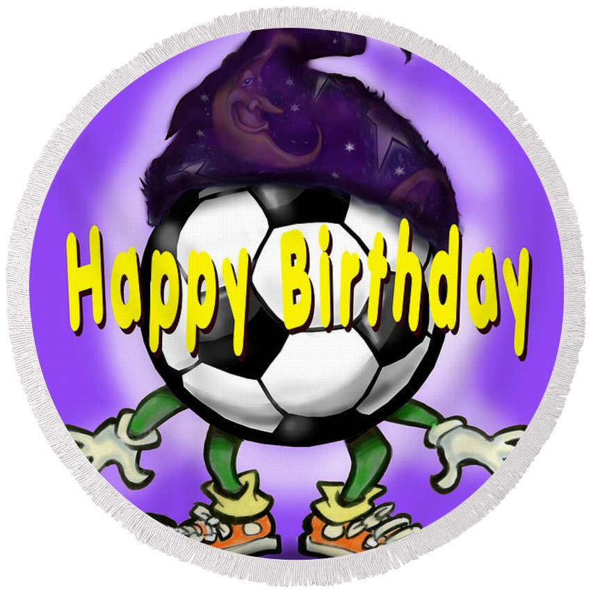 Soccer Round Beach Towel featuring the greeting card Happy Birthday Soccer Wizard by Kevin Middleton
