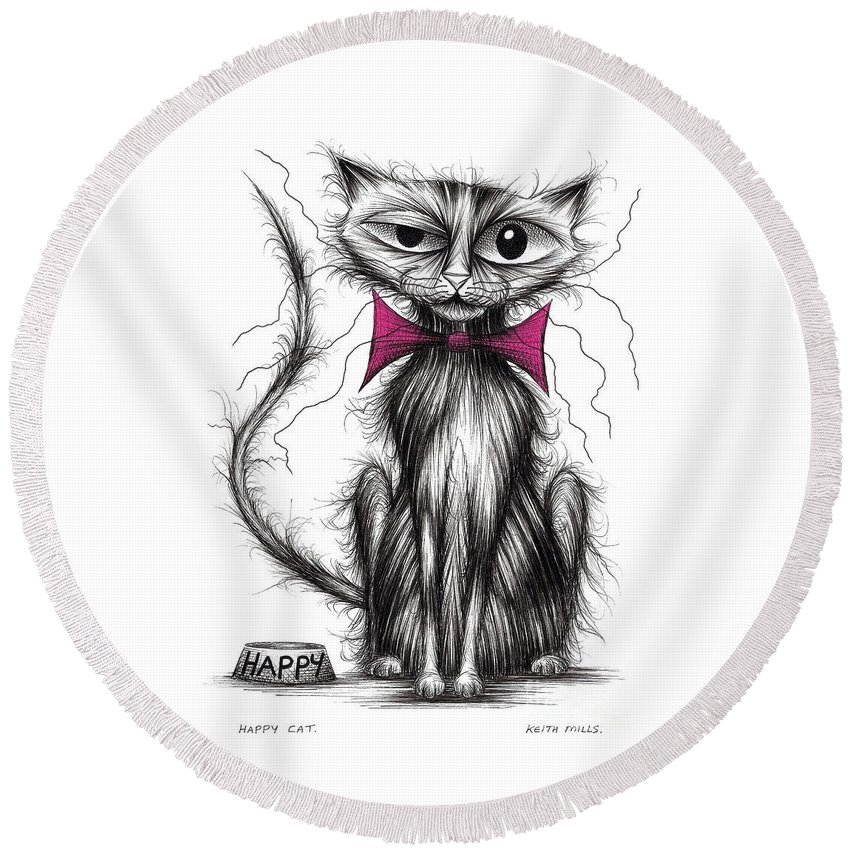 Happy Round Beach Towel featuring the drawing Happy Cat by Keith Mills