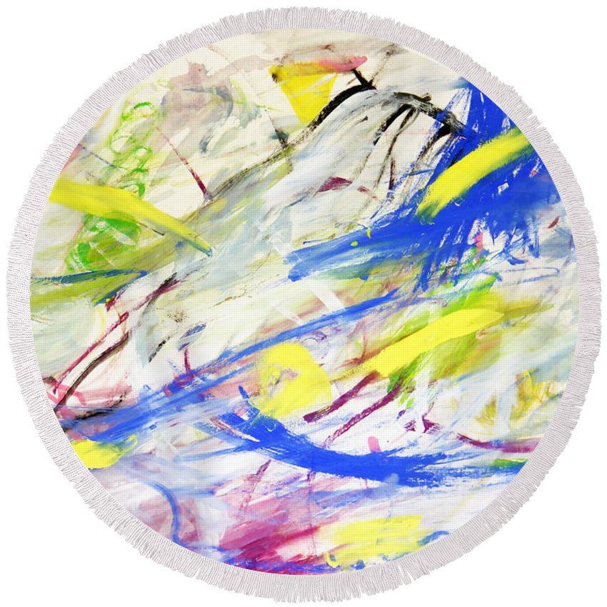 Abstract Round Beach Towel featuring the painting Happy Chaos by Lee Serenethos