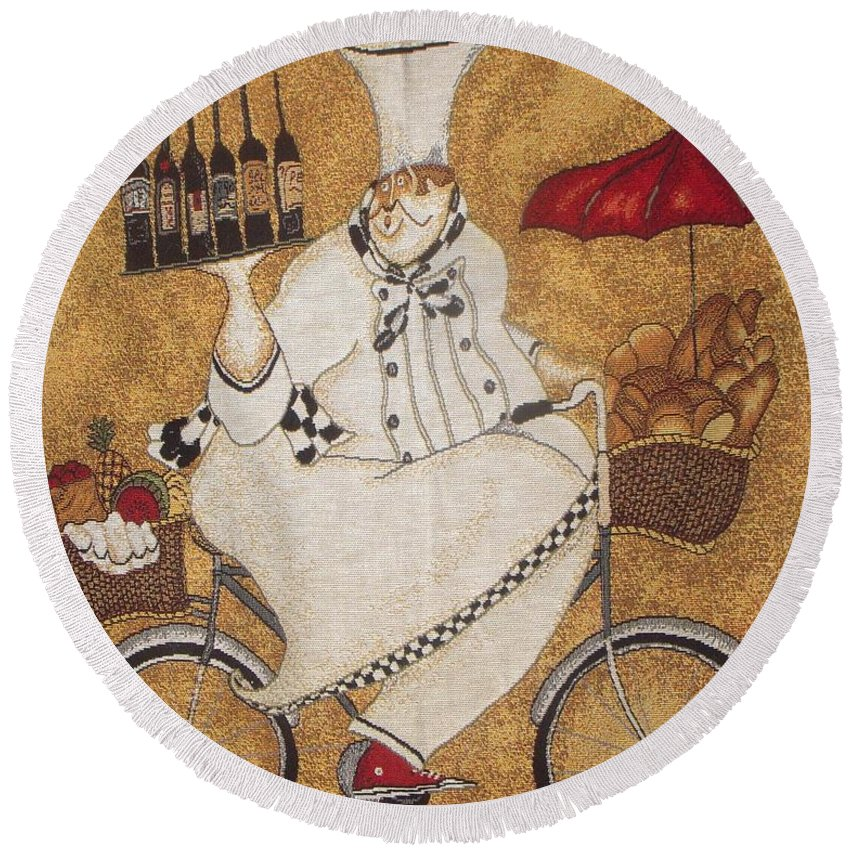 Chef Round Beach Towel featuring the photograph Happy Chef On The Bike by Vesna Antic