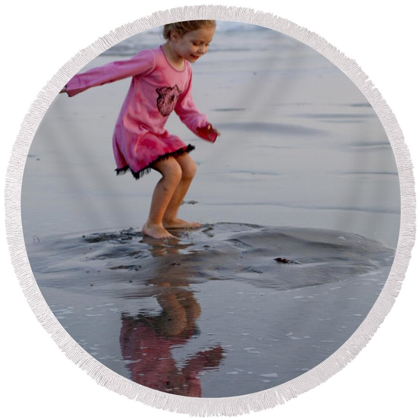 Happy Contest Round Beach Towel featuring the photograph Happy Contest 11 by Jill Reger