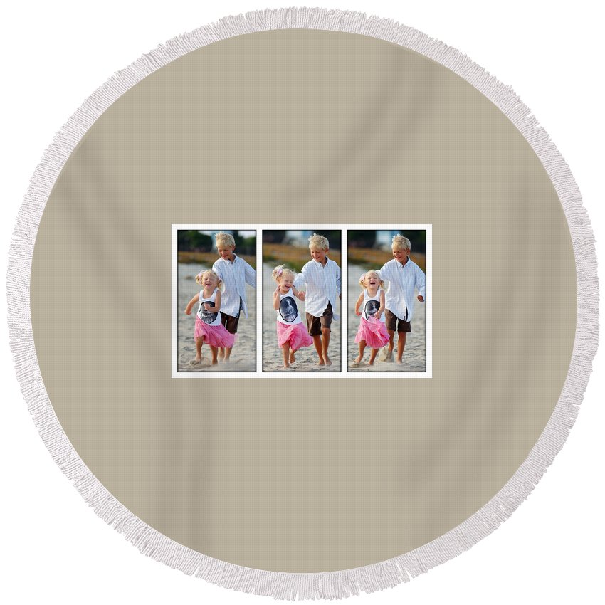 Happy Contest Round Beach Towel featuring the photograph Happy Contest 15 by Jill Reger
