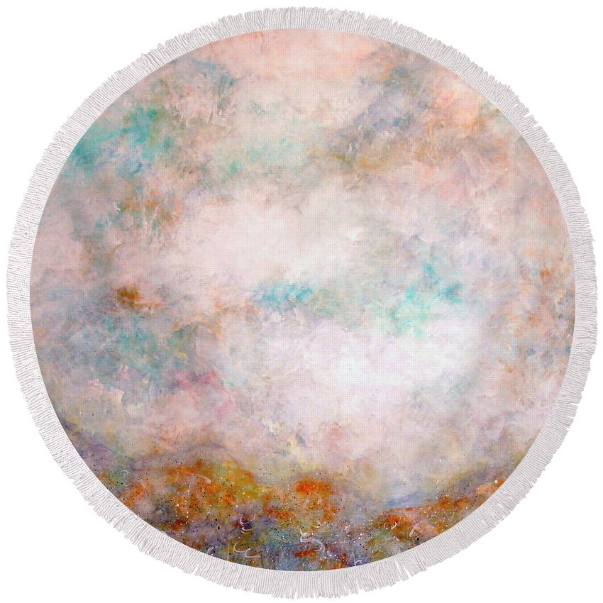 Clouds Round Beach Towel featuring the painting Happy Dancing Clouds by Natalie Holland