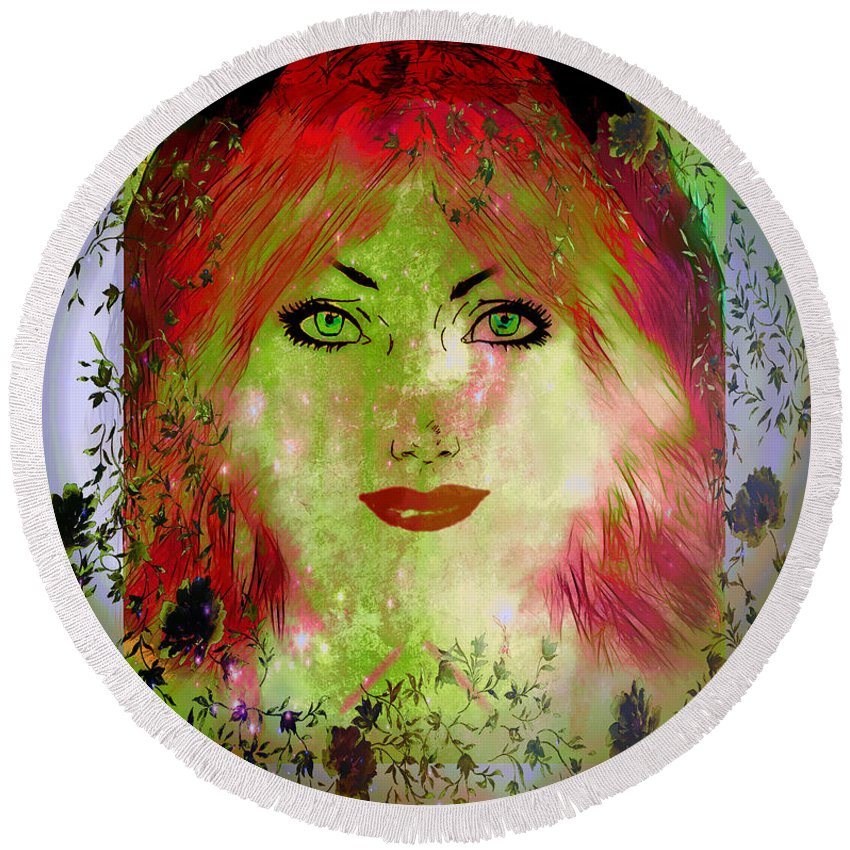 Face Round Beach Towel featuring the digital art Happy Days by Ericamaxine Price