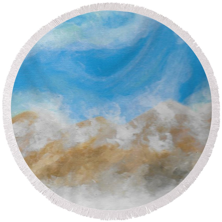 Happy Round Beach Towel featuring the painting Happy Fog by Eric Atherton