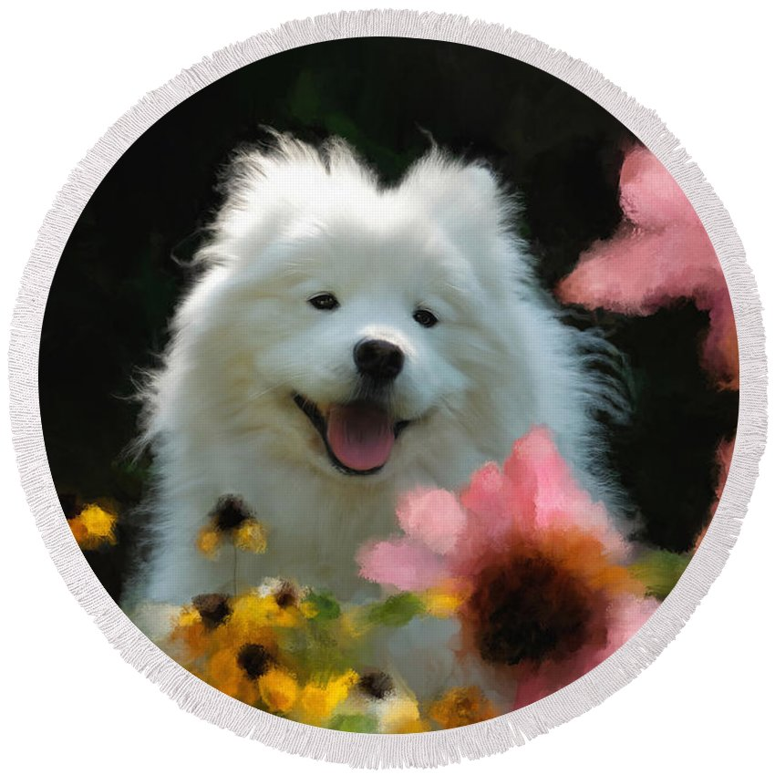 Dog Round Beach Towel featuring the digital art Happy Gal In The Garden by Lois Bryan