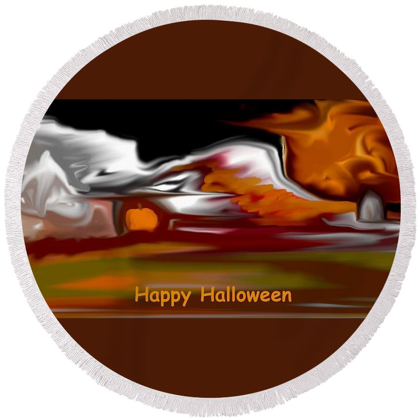 Abstract Digital Painting Round Beach Towel featuring the digital art Happy Halloween by David Lane