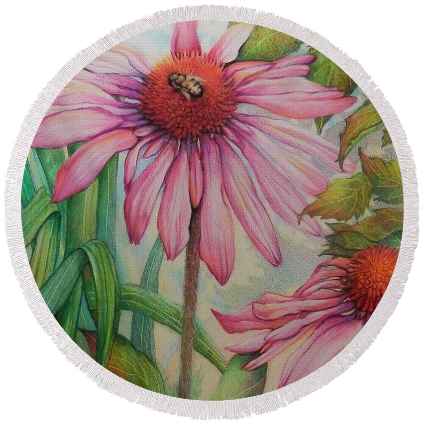 Bee Honey Bee Flower Garden Pink Green Wildlife Round Beach Towel featuring the drawing Happy Honey Bee by Catherine Robertson