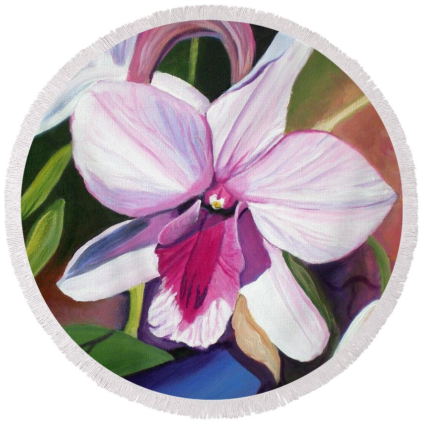 Kauai Round Beach Towel featuring the painting Happy Orchid by Marionette Taboniar