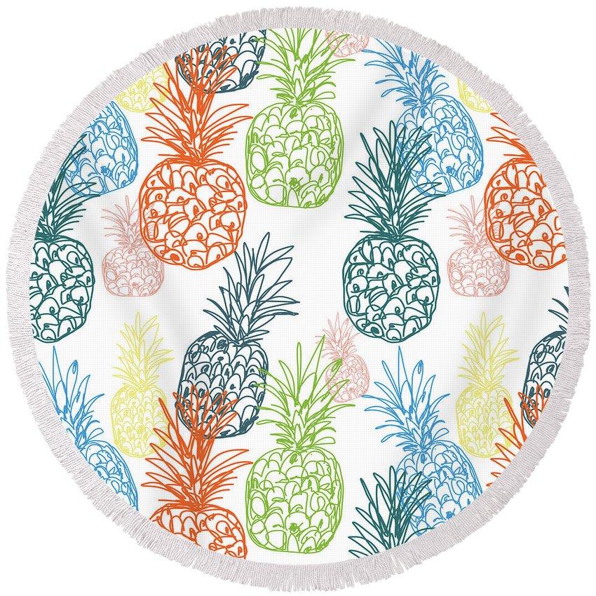 Pineapple Round Beach Towel featuring the digital art Happy Pineapple- Art By Linda Woods by Linda Woods